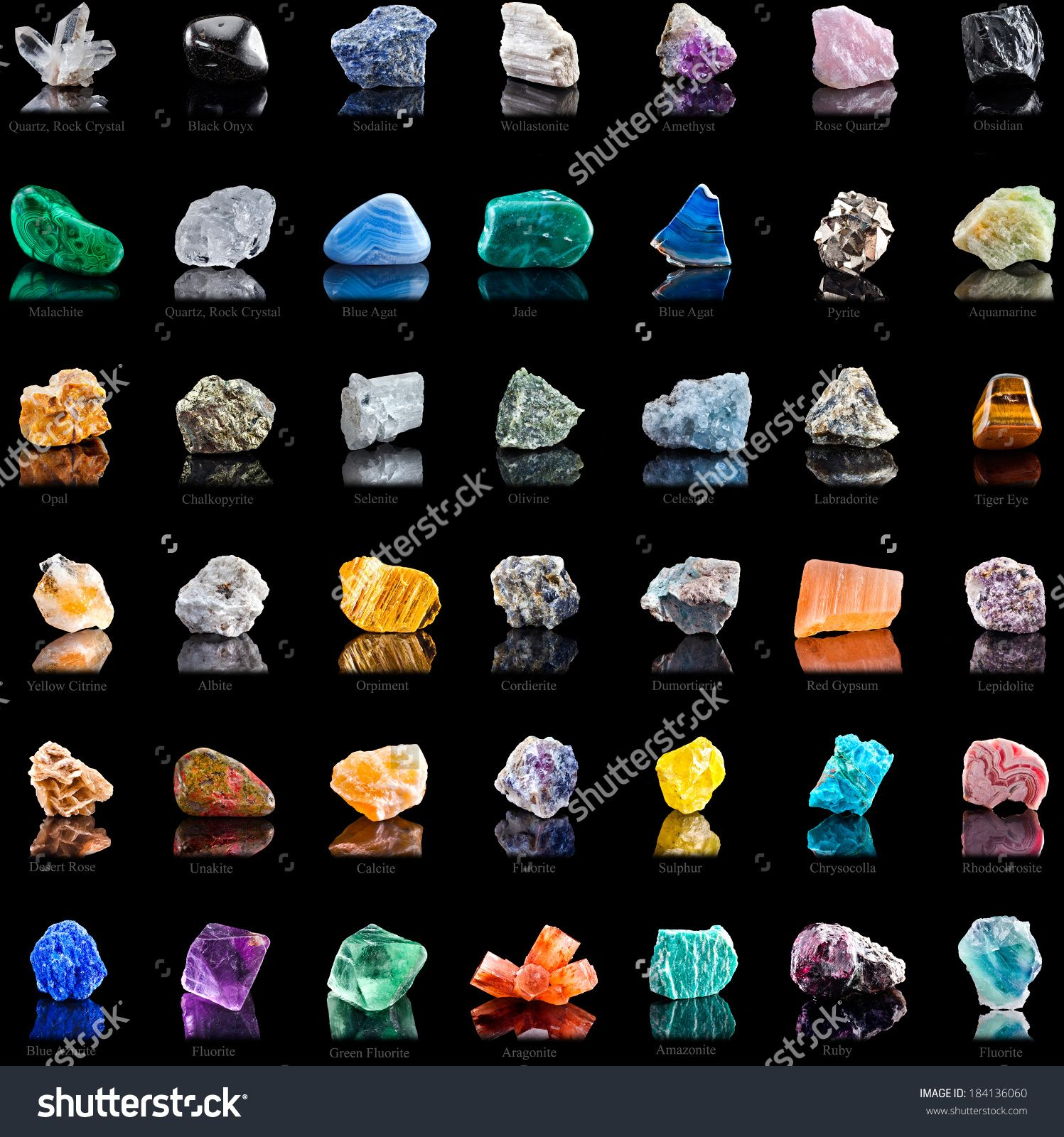 Collection Set Of Semi-Precious Gemstones Stones And Minerals With ...