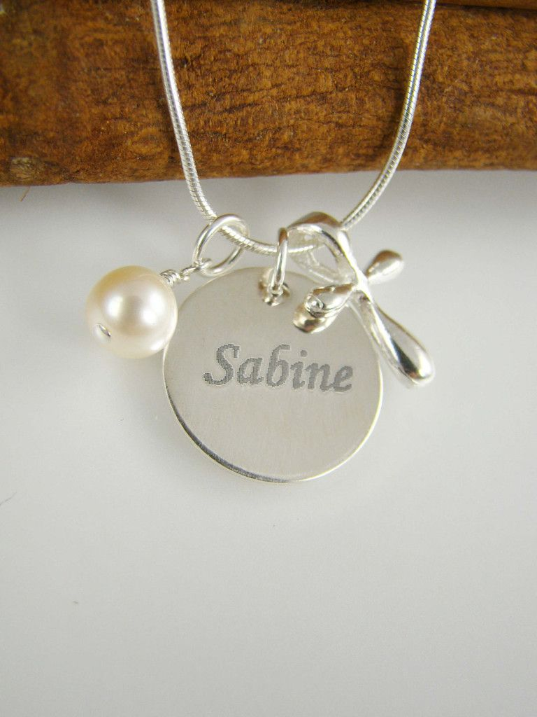 Engraved girl baptism gift cross necklace name and date