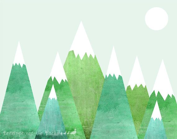 Retro Green Mountains Penelope And The Ducks Mountain Print Etsy Retro Prints Mountain Print Artwork