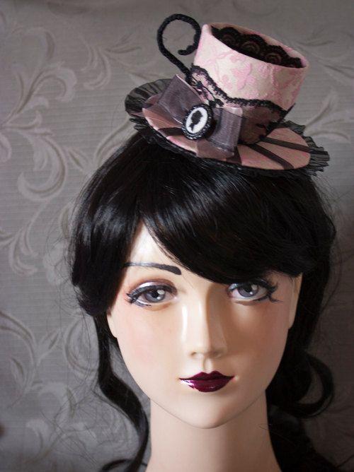 Cunene Pink Tea Cup Mini Hat Fascinator by cunene on Etsy, €60.00