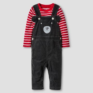 Baby Boys' Bear Overall and Long-Sleeve Bodysuit Set Baby Cat & Jack™ - Charcoal/Red Stripe