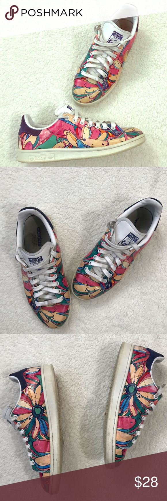 Adidas Stan Smith Floral Colorful Graffiti Sneaker PREOWNED