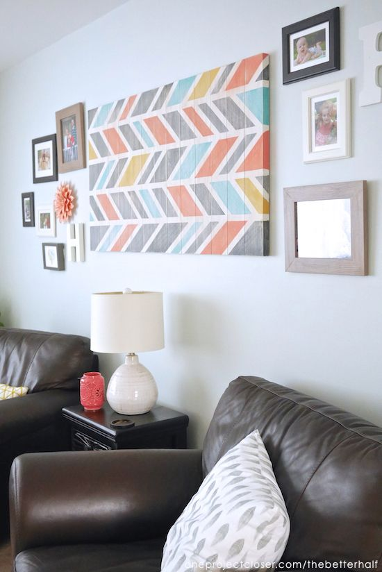 Living Room Decor Ideas With DIY Scrap Wood Art From One Project Closer