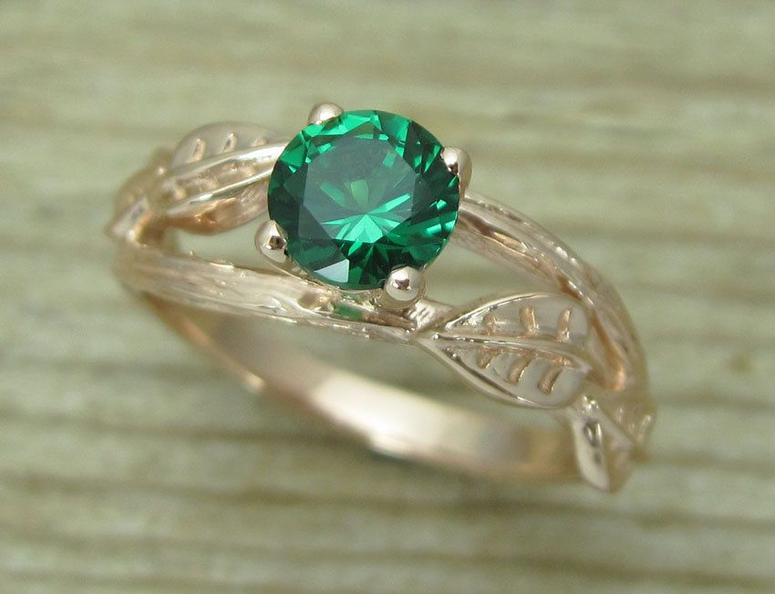 3f76b75b9d9c3 Rose gold Twig Emerald Ring, Leaves Emerald Engagement Ring, Twig ...