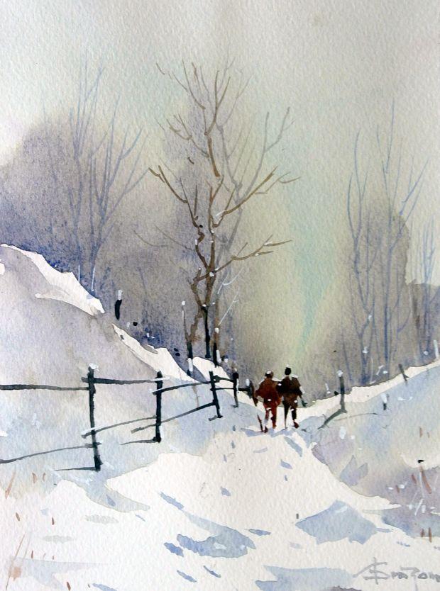 Watercolour Acuarela Corneliu Dragan Targoviste Peisaj Rural 14