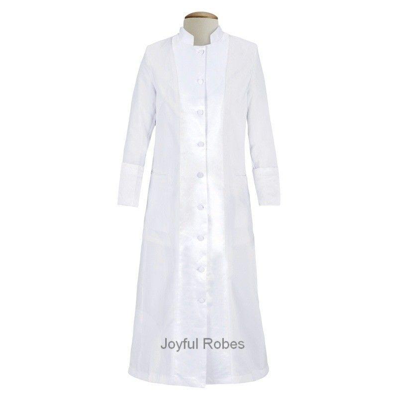 127 W. Women\'s Pastor/Clergy Robe with Satin - White/White ...