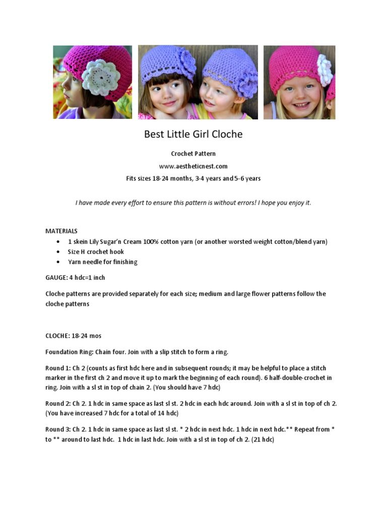 Crochet pattern for a girl\'s crochet cloche (hat) with oversized ...