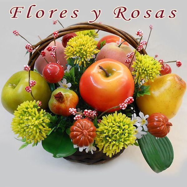 Cesta de frutas Centros de flores artificiales Cesta redonda de