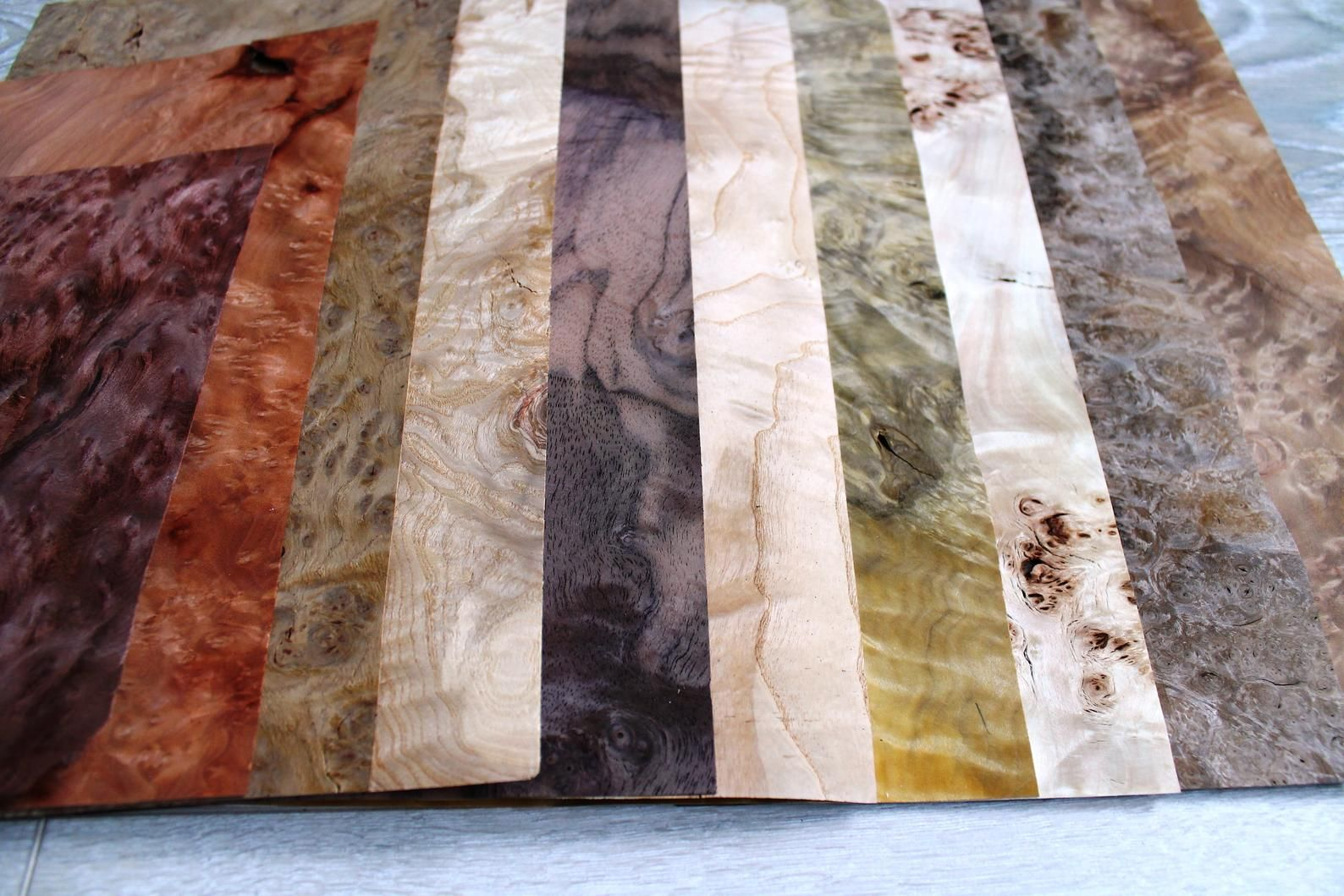 Burl Wood Veneer Sheets Mix
