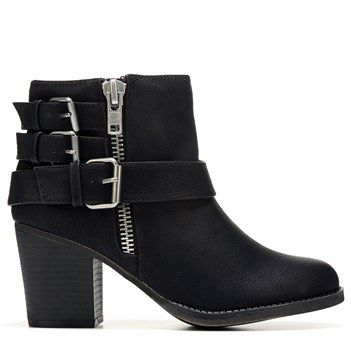 Biker meets boho in the Wickker Bootie from Madden Girl.Faux leather upper  in an ankle bootie style with a round toeMoto-inspired strap detailZipper  inch ...