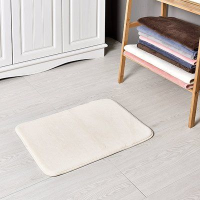 "Welland Industries LLC Bath and Shower Mat Color: Cream, Size: 24"" L x 17"" W"