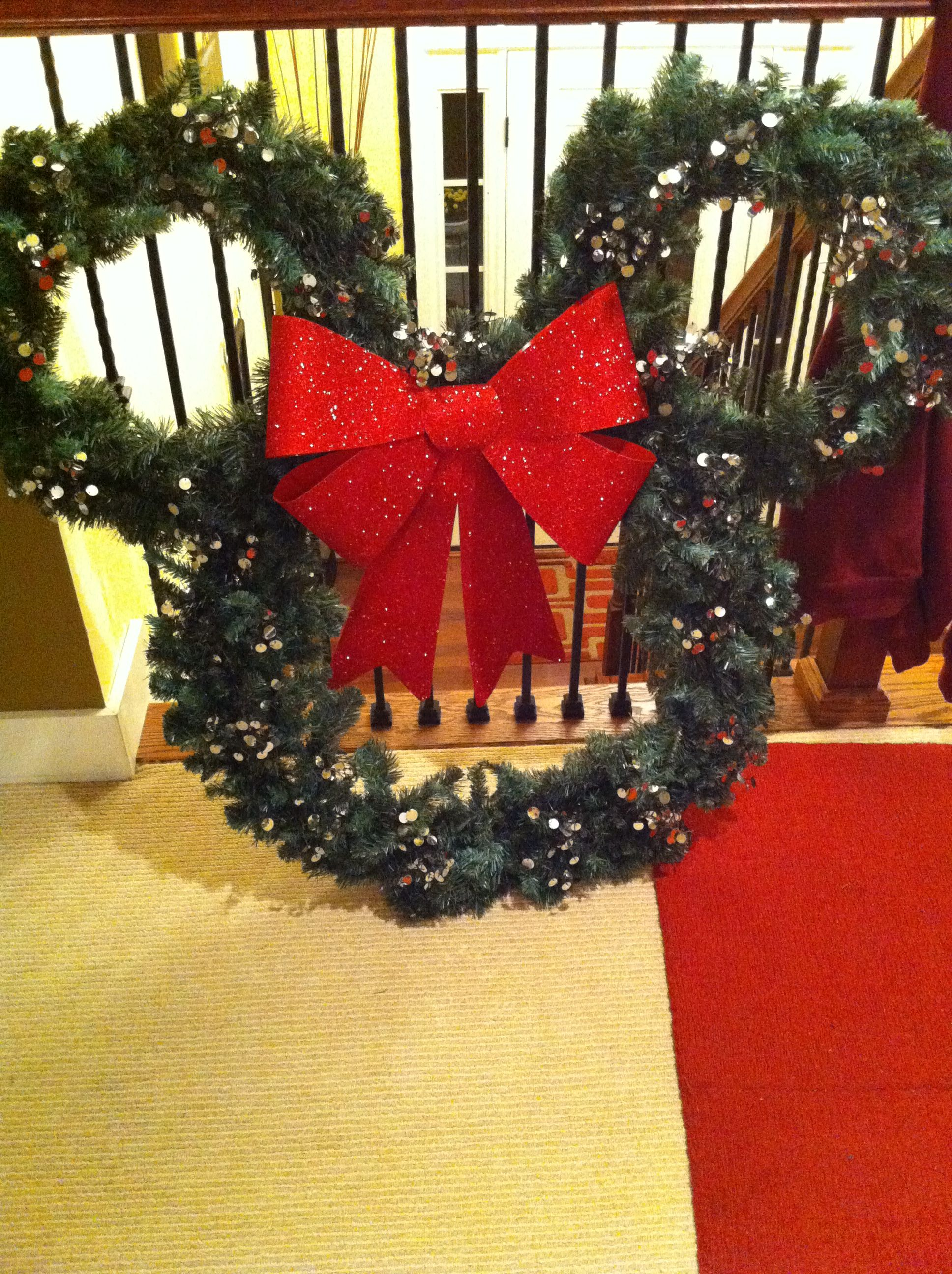 diy mickey mouse outdoors christmas wreath plan to hang this on our double windows outside the house using outdoor suction cups we found at lowes reall - Mickey Mouse Christmas House Decorations