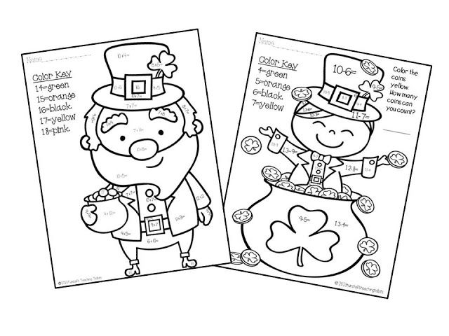 subtraction worksheets for 1st grade st patrick day