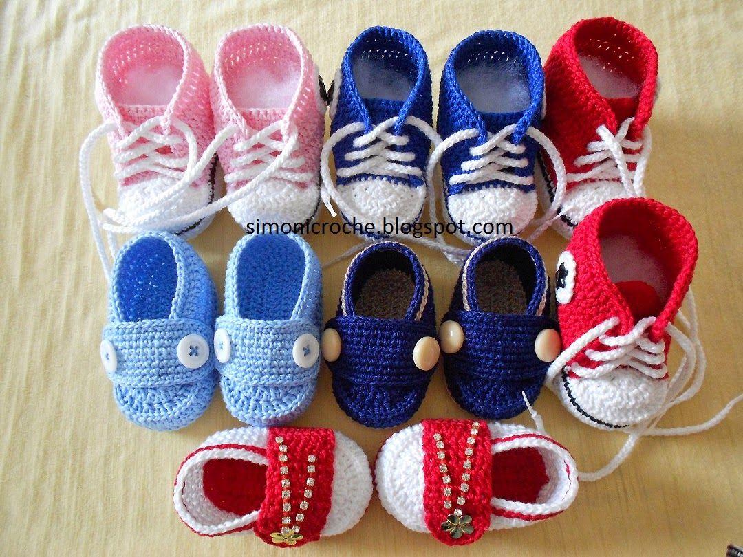Simoni crochê: Sapatinhos de crochê | zapatos bebé tejidos crochet ...