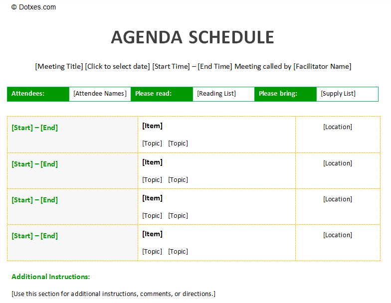 Meeting Agenda Schedule Template To Improve Your Meeting  Microsoft Templates Agenda