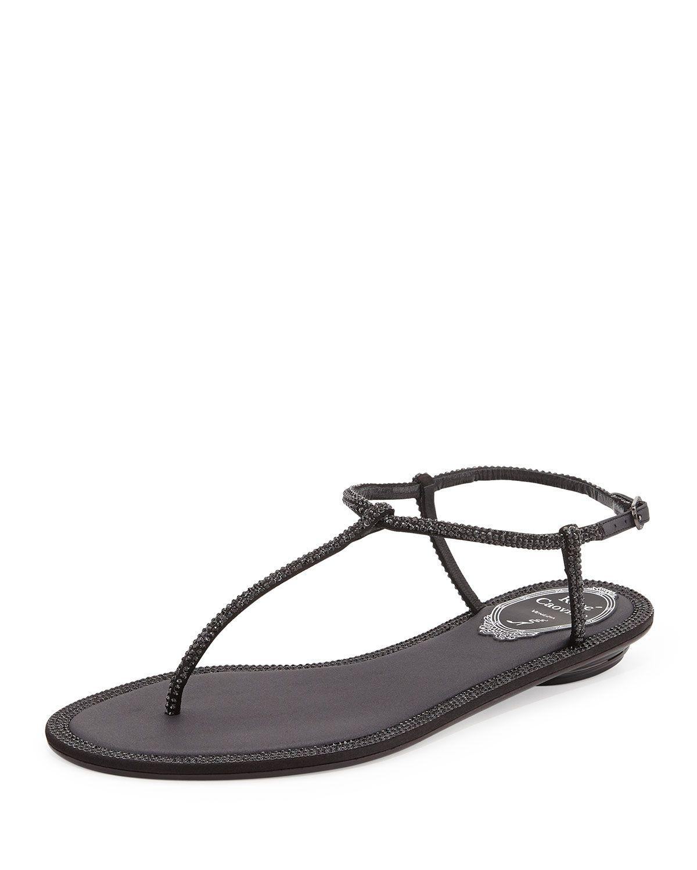87755422c57b0 Crystal Flat Thong Sandal, Black, Size: 41B/11B - Rene Caovilla ...