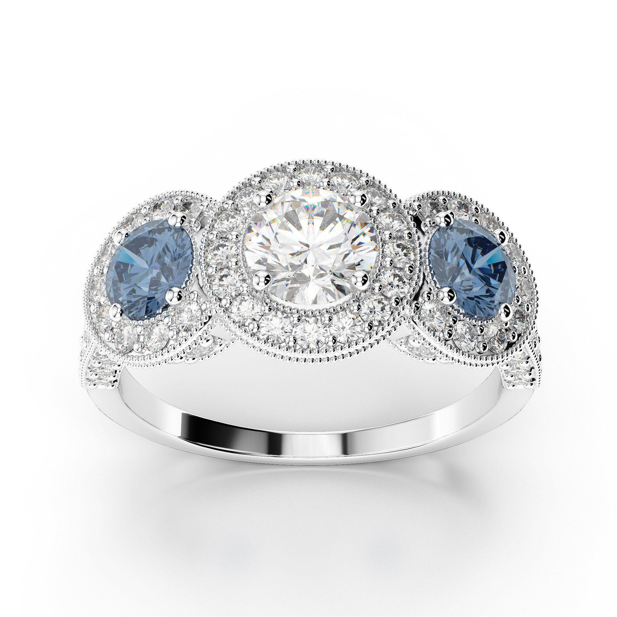 Three Stone 1.45 Carat Diamond Engagement Ring With