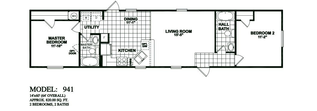 2 Bedroom Mobile Home Floor Plans model-941-14x60-2bedroom-2bath-oak-creek-mobile-home 1,055×369