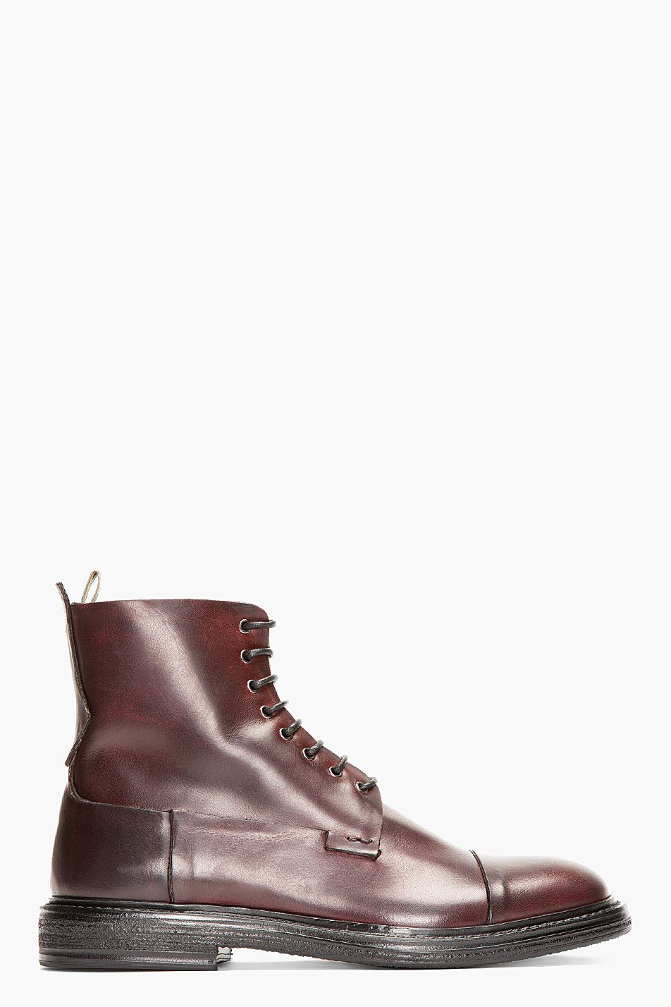 07ed7acef9 OFFICINE CREATIVE Burgundy Leather Bowling Boots