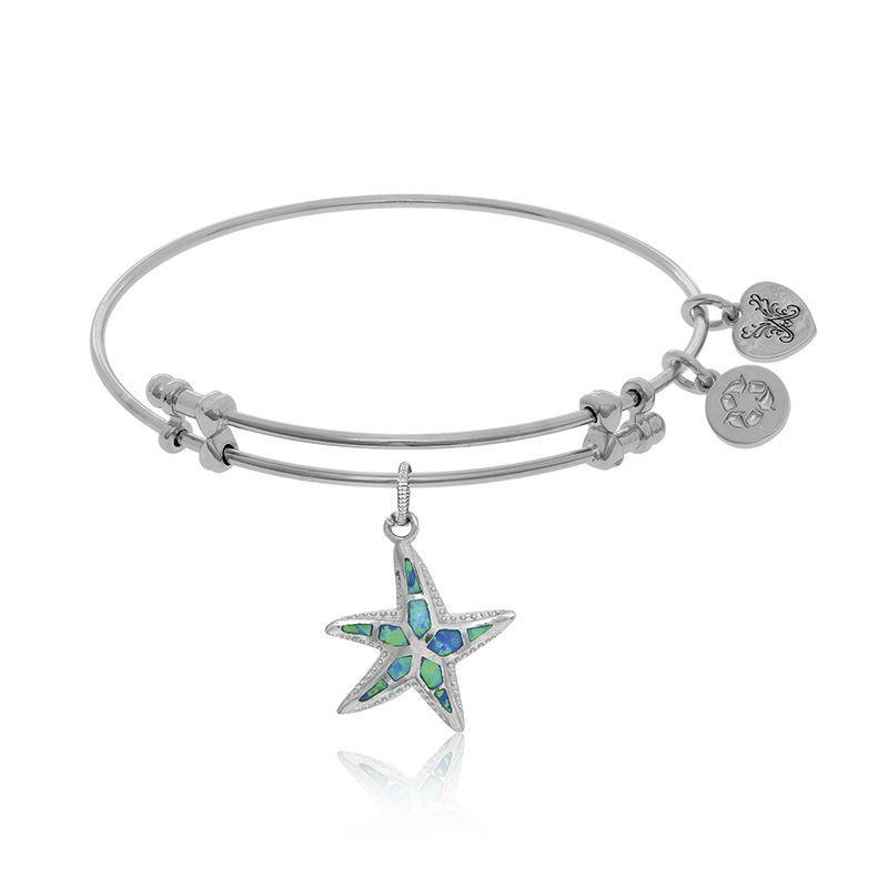 Created Opal & Crystal Starfish Charm Bangle Bracelet in