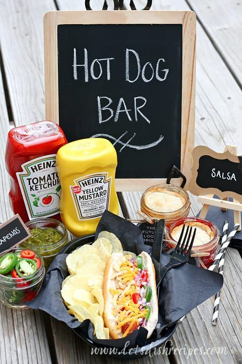 Graduation Party Hot Dog Bar and Mini Mason Jar Pies | Let's Dish #graduationparties