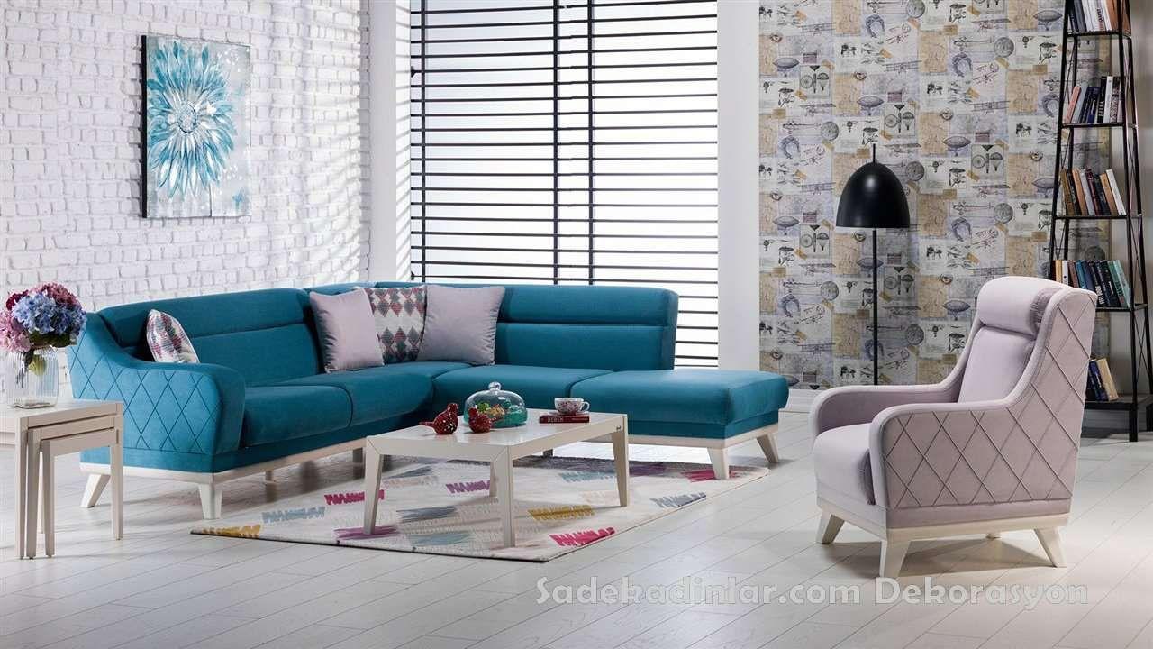 Mavi Nubuk Kumas Kose Takimlari Koltuk Takimlari Sofa Set Ev Dekoru Mobilya Fikirleri Ev Dekorasyonu