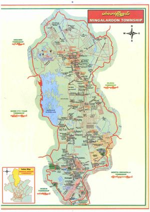 Mingalardon Township Yangon City Map Scan In 2020 Yangon Map City