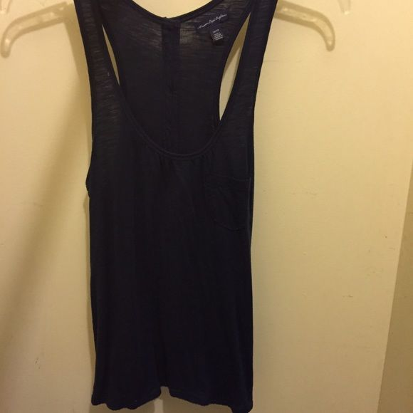 American Eagle navy tank Adorable navy blue American eagle tank. There is a small pocket on the front pictured in #4, and this top has buttons all the way down the back! So cute! Worn only a few times American Eagle Outfitters Tops Tank Tops