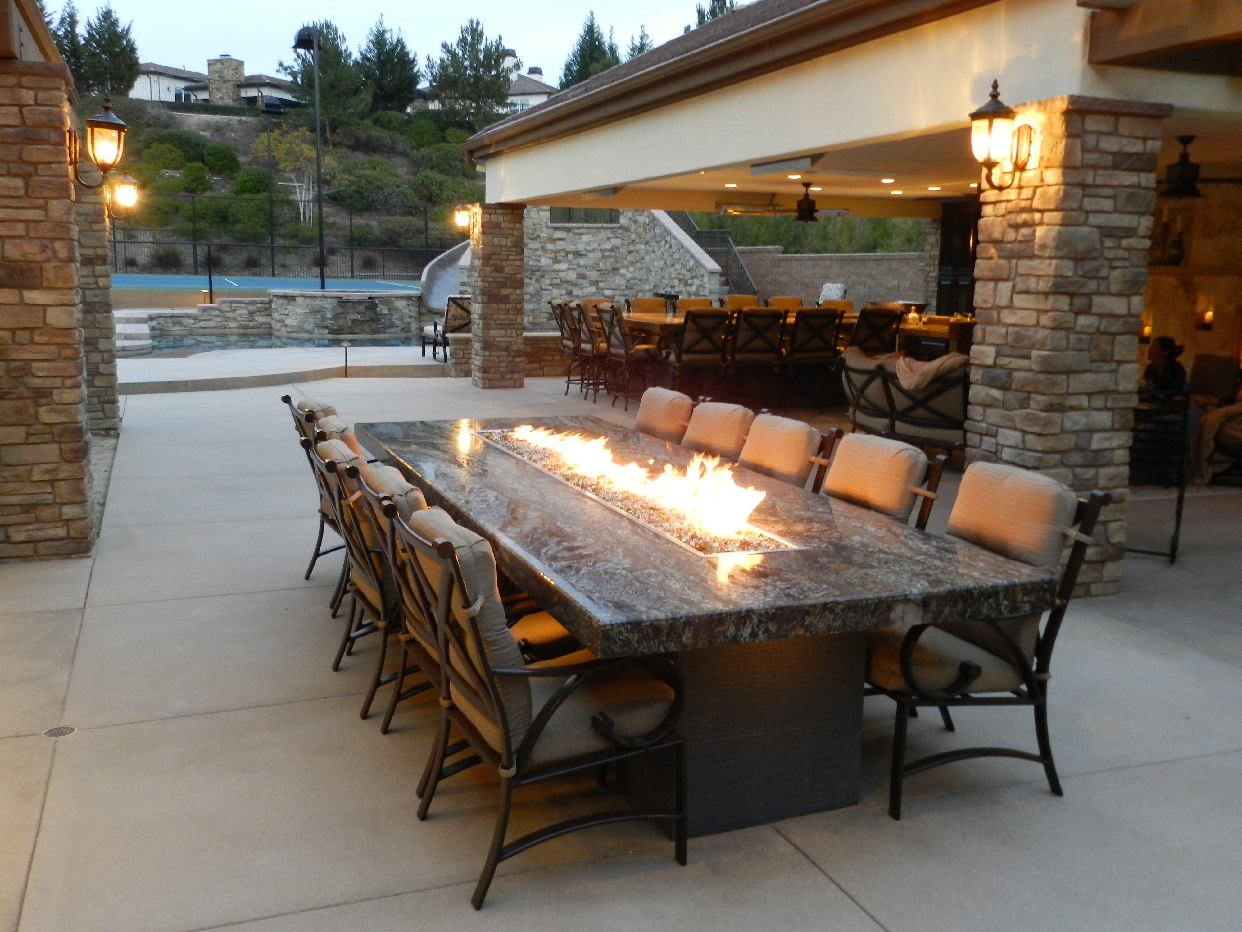 Outdoor- Custom Fire Glass Table #fire #
