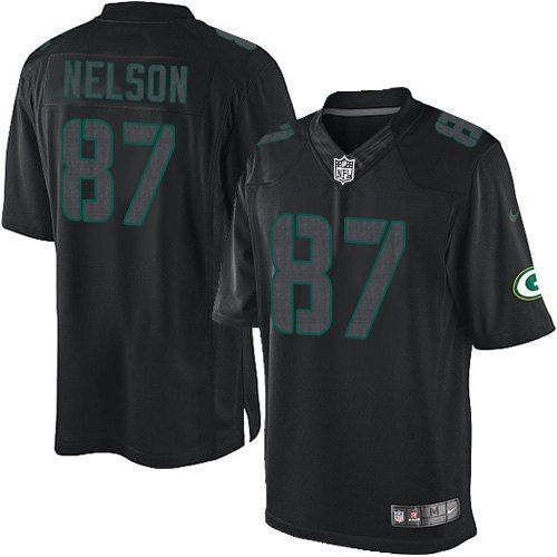 73318a96e ... All Size Free Shipping Elite Mens Nike Green Bay Packers 87 Jordy Nelson  Impact Black.