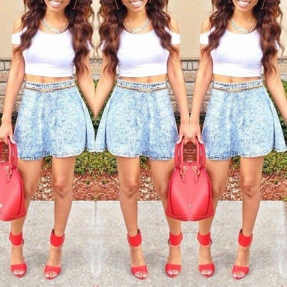 red acid wash skirt