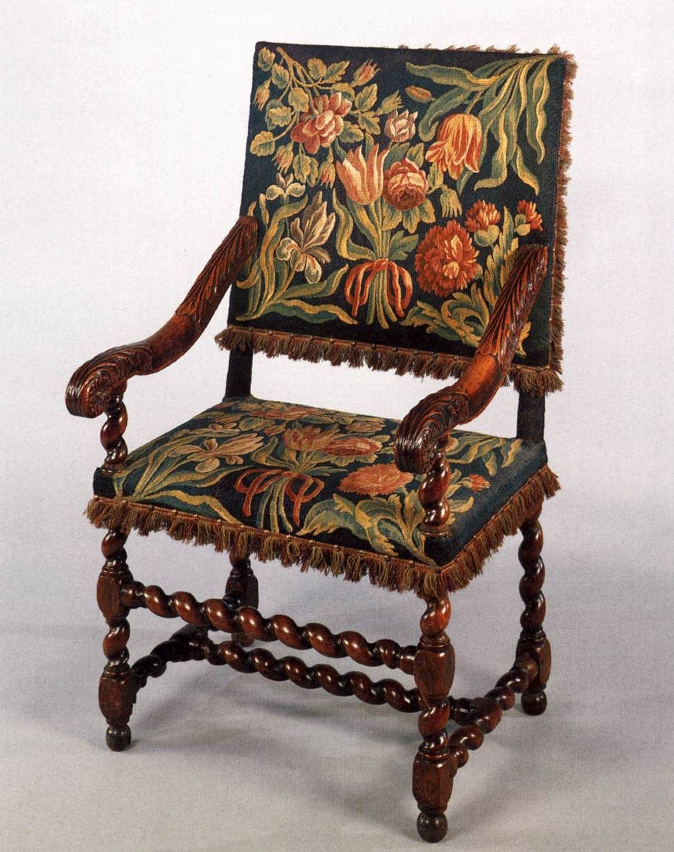 Dutch Armchair, Upholstered With Tapestry, 1650 75. Rijksmuseum, Amsterdam