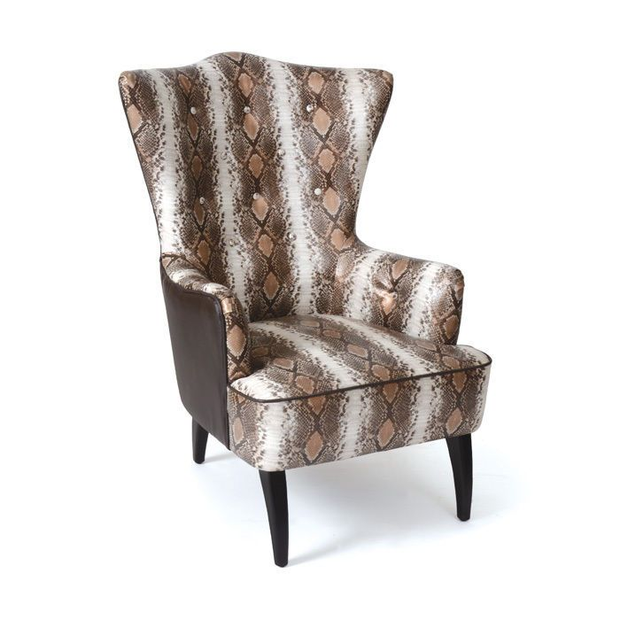 Unique Armchair Wingback Design Snake Print Leather Upholstery