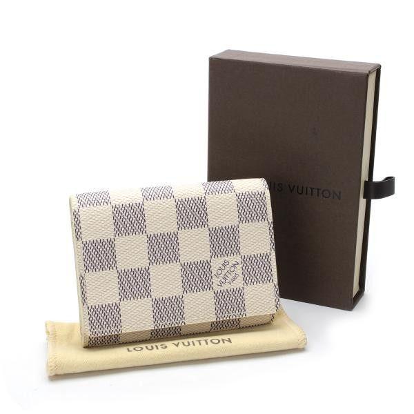 Louis Vuitton Enveloppe Cartes De Visite Damier Azur Other White Canvas N61746