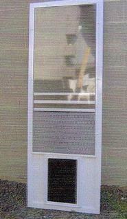 swinging screen door with glassine insulation panel and installed pet door leave