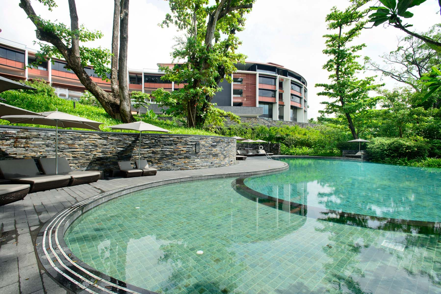 One Of The Three Cascading Swimming Pools At Capella Singapore Capella Singapore Resort
