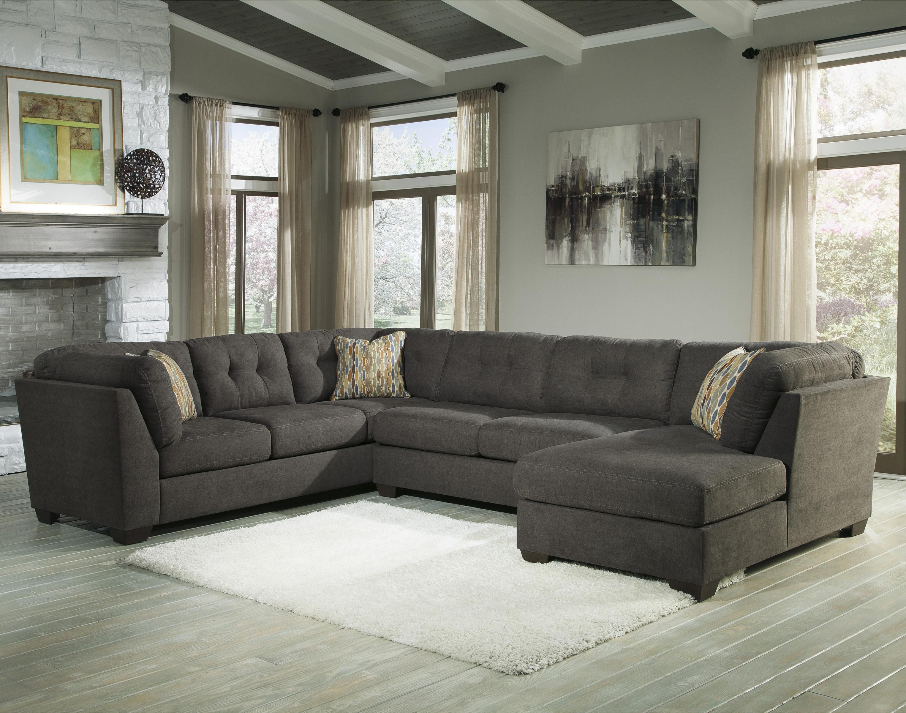 Delta City Steel 3 Piece Modular Sectional with Right Chaise by