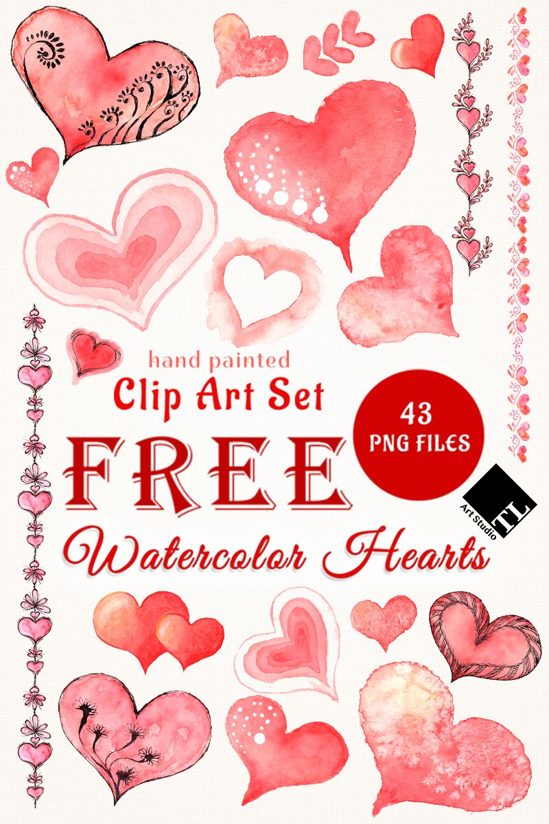Free Watercolor Hearts Beautiful Clip Art Set For Your Personal