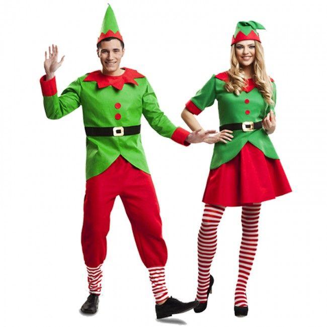 Pareja elfos navidad santa claus parejas disfraces - Disfraces duendes navidenos ...
