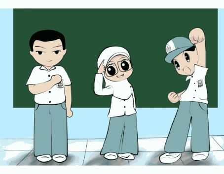 Gambar Kartun Lingkungan Sekolah Yang Simple Dan Mudah Ditiru