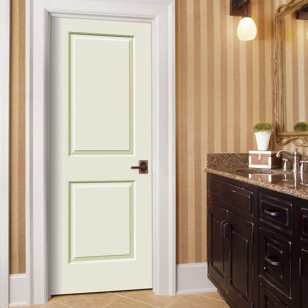 JELD WEN 30 In. X 80 In. Smooth 2 Panel Solid Core Painted Molded Interior  Door Slab, White