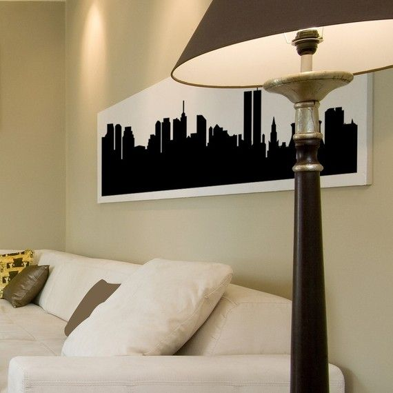 Items similar to chicago illinois skyline silhouette cityscape vinyl decal wall sticker many sizes 36 x 8 on etsy