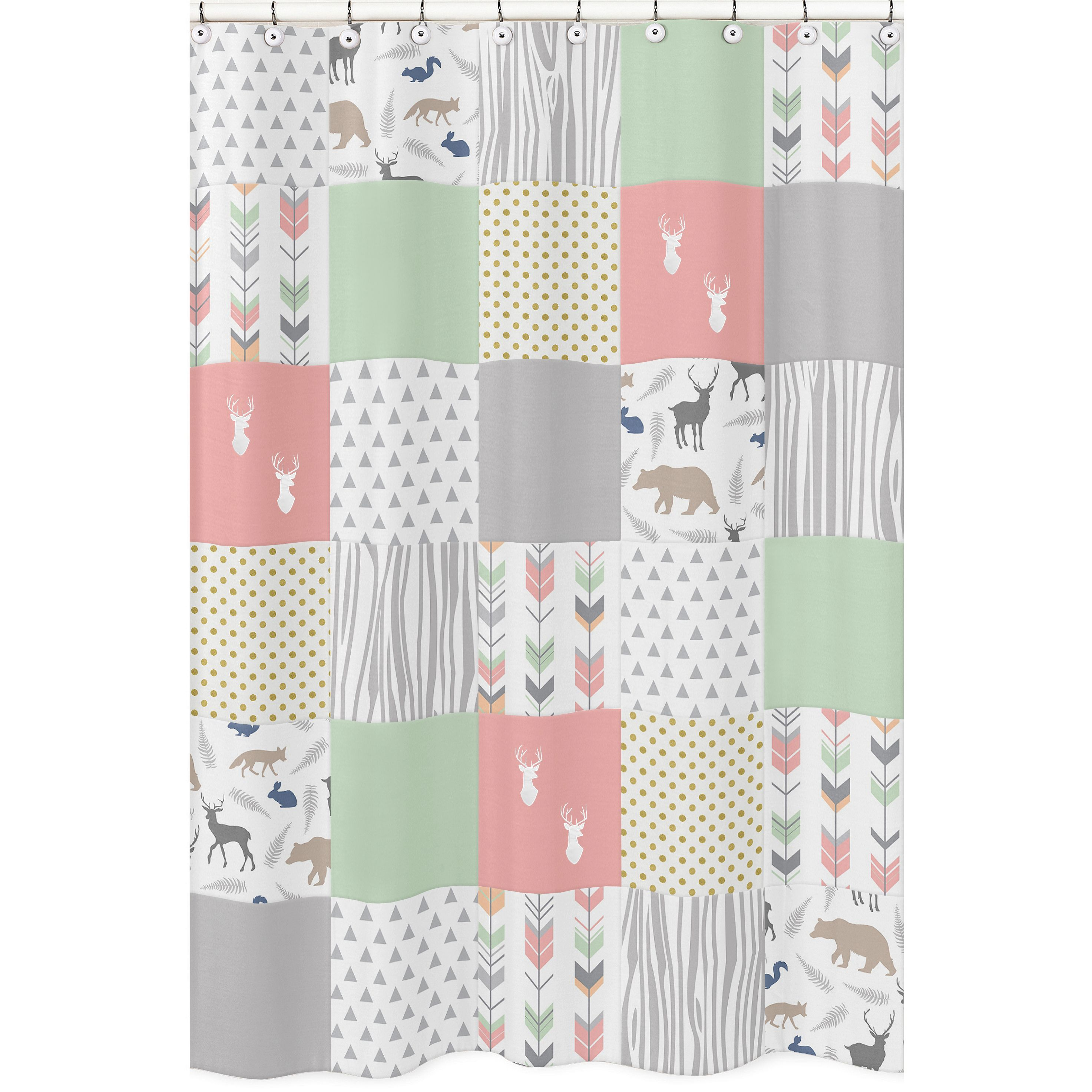 Shower curtain for the coral and mint woodsy collection by sweet