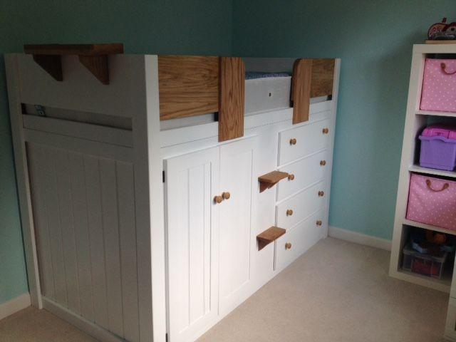 Furniture · 4 Drawer Cabin Bed In White And Solid Oak.