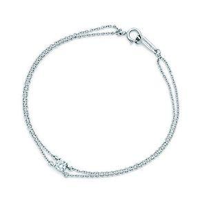 Tiffany solitaire diamond bracelet in platinum.