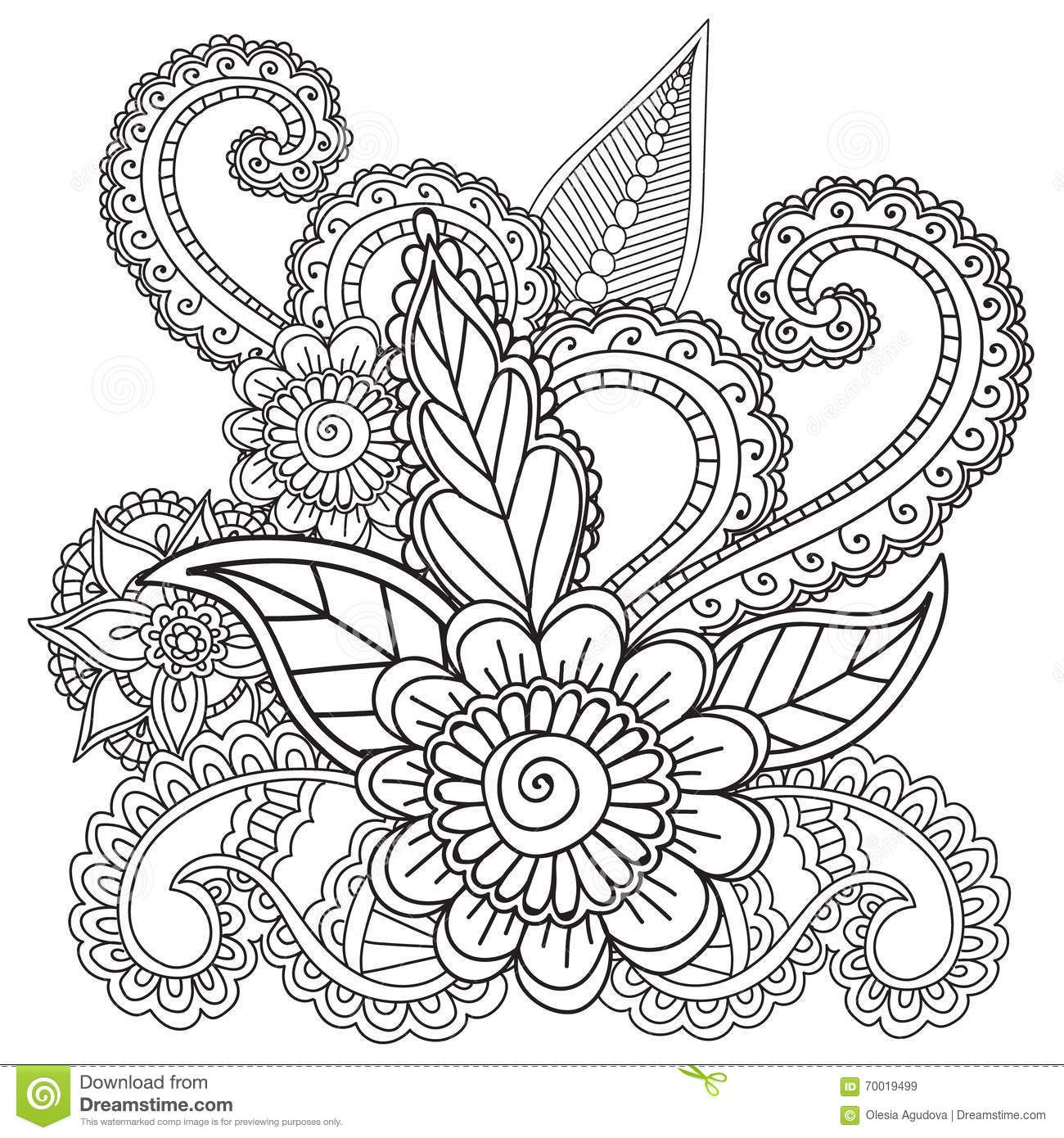 Coloring pages adults henna mehndi doodles abstract floral for Henna coloring pages