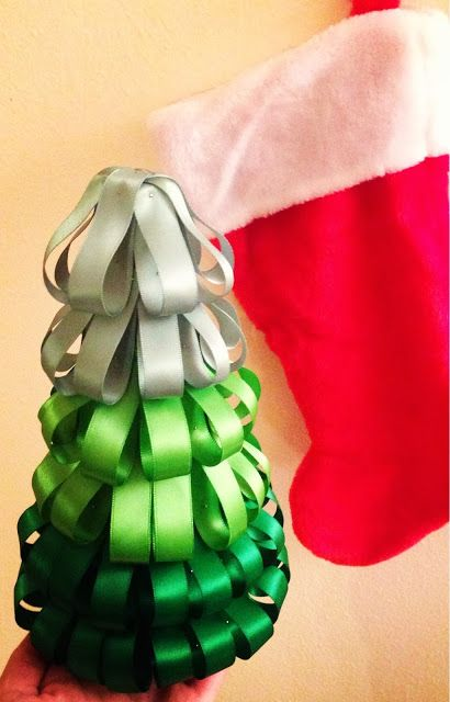 Post-Grad Crafting: Ombre Ribbon Christmas Tree Craft