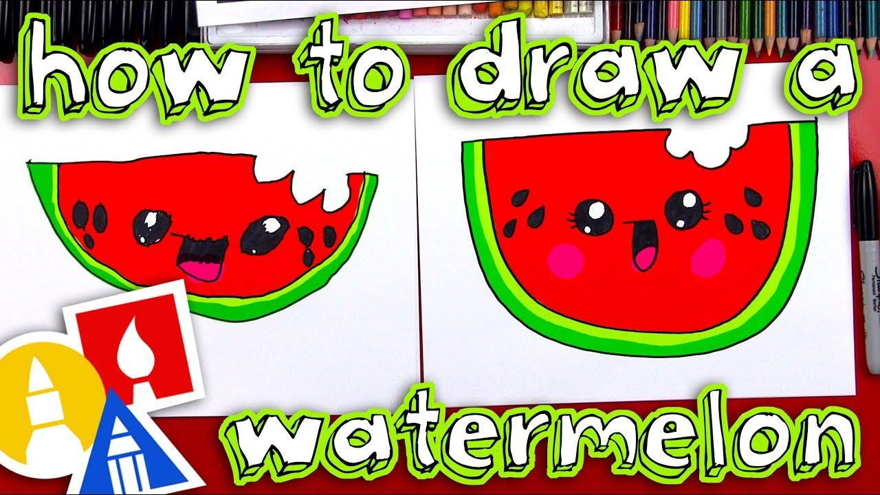 How To Draw A Cartoon Watermelon Youtube Art For Kids Hub Art Lessons For Kids Drawing For Kids