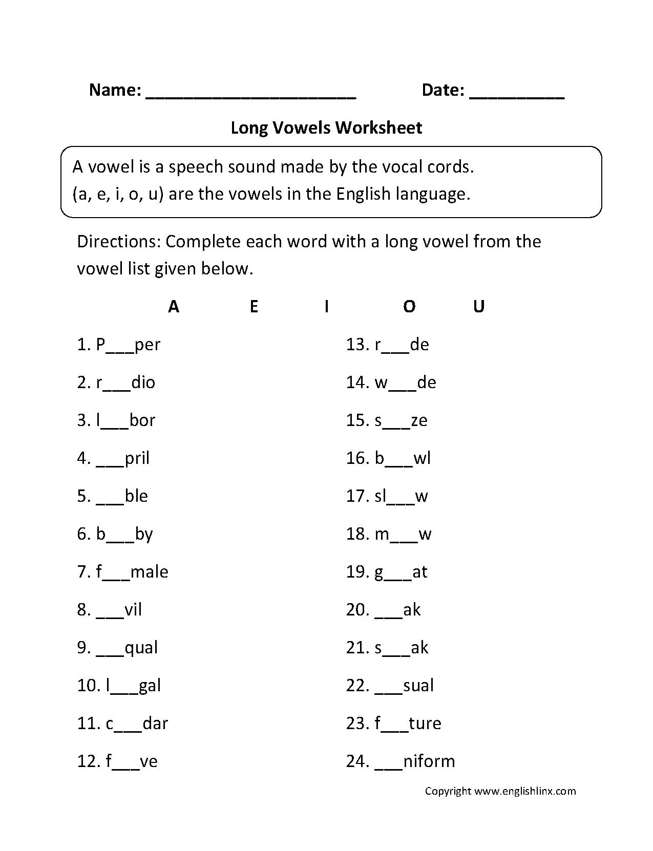 Worksheets Long Vowel Worksheets long vowel worksheet mk pinterest vowels worksheet