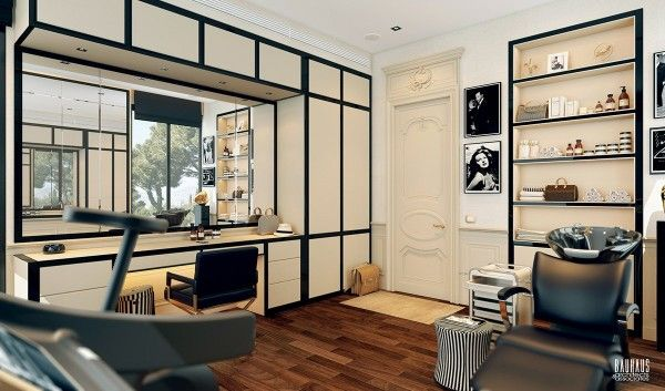 A Modern Art Deco Home Visualized In Two Styles | Black And White Home  Office
